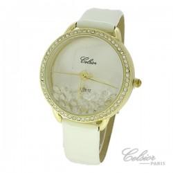 Montre Femme Celsior Paris Strass cadran doré bracelet blanc