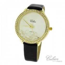 Montre Femme Celsior Paris Strass cadran doré bracelet noir
