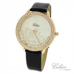 Montre Femme Celsior Paris Strass cadran rosé bracelet noir