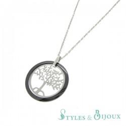 Collier acier céramique pendentif arbre de vie