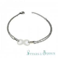 Bracelet infini céramique blanche