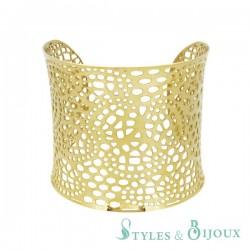Bracelet manchette acier ajouré doré