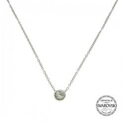 Collier solitaire acier orné de Cristaux Swarovski crystal