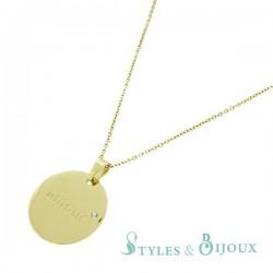 Amour-Collier pendentif acier message gravé