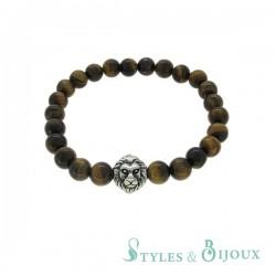 Bracelet homme perle Bouddha oeil de tigre