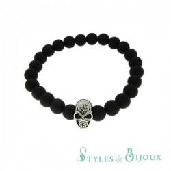 Bracelet tête de mort Homme boules noires