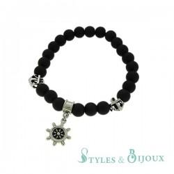 Bracelet Homme boules noires motif marin