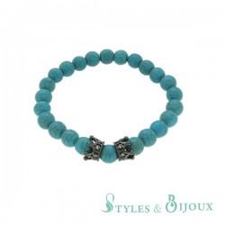 Bracelet couronne en pierre turquoise