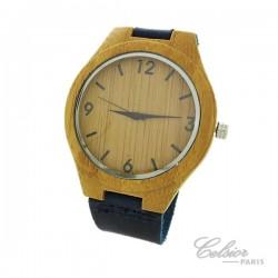 Montre cadran bois bracelet cuir