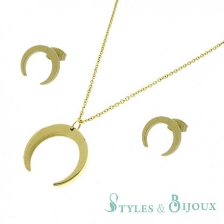 Parure collier et boucles d'oreilles croissant de lune