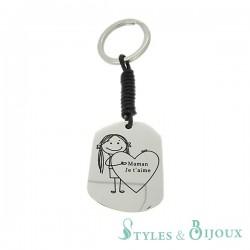 Porte-clés acier Maman Je t'aime