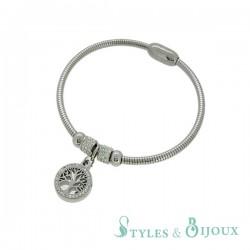 Bracelet acier rigide arbre de vie