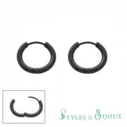 Boucles d'oreilles Homme acier noir