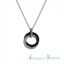Collier céramique anneaux entrelacés