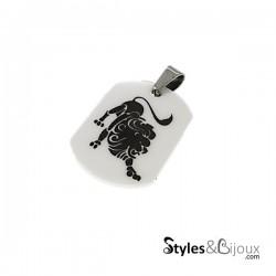 Pendentif signe du zodiaque céramique blanche Lion