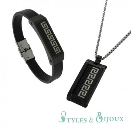 Parure Pendentif et bracelet acier homme