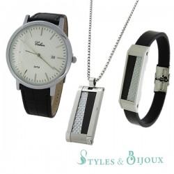 Coffret Homme montre Celsior et ensemble pendentif bracelet en acier