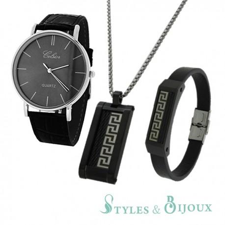 Coffret montre Celsior et ensemble pendentif bracelet en acier Homme