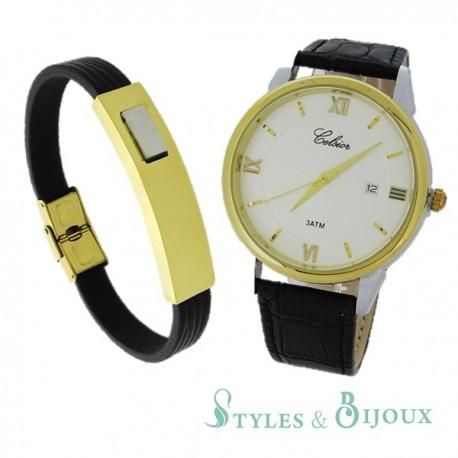 Coffret Homme montre Celsior et bracelet acier doré