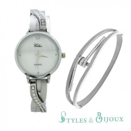 Coffret montre métal Celsior et bracelet bangle acier Femme