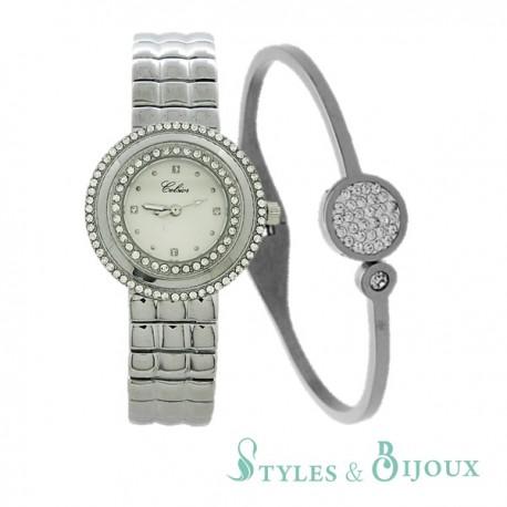 Coffret Femme montre métal Celsior et bracelet bangle acier
