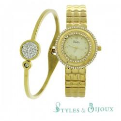 Coffret Femme montre métal Celsior et bracelet bangle acier doré
