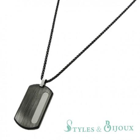 Collier acier Homme pendentif plaque brossé noir