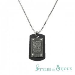 Collier Homme pendentif plaque acier noir