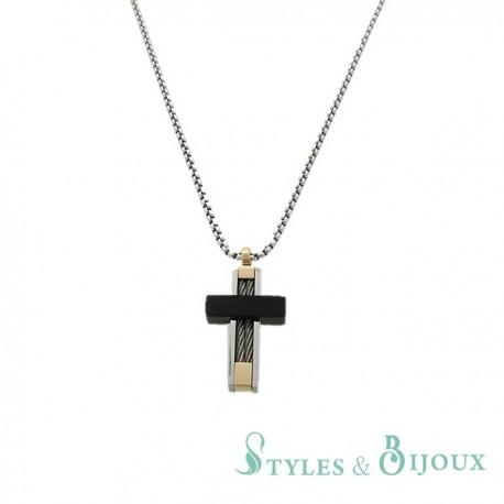 Collier acier Homme pendentif croix