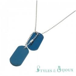 Collier plaque militaire acier bleu Homme