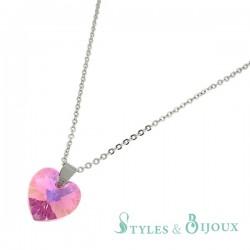 Collier cristal cœur rose