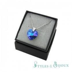 Collier cristal cœur bleu