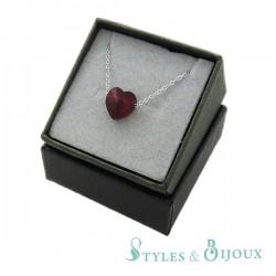 Collier cristal cœur rouge