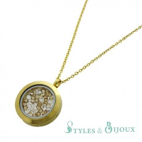Collier médaillon doré cristaux