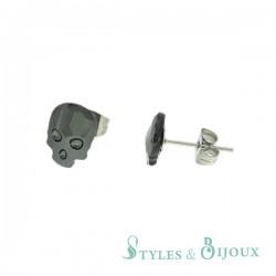 Boucles d'oreilles tête de mort en cristal gris