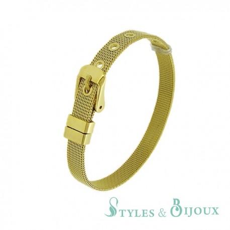Bracelet Femme maille milanaise acier doré